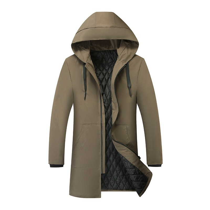 autumn winter mens wool liner long hooded parka warm printed thick coat casual size m xxxxxl t188 New Mens Long Parka Hooded Thick Warm Cotton-padded Coat Solid Winter Clothing Size M-6XL T130