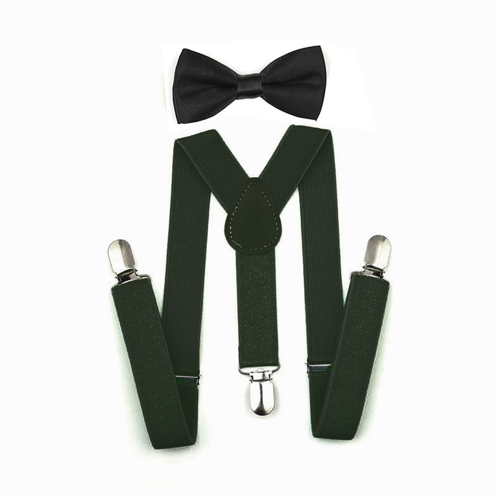 Nova moda meninos meninas crianças ajustável elástico y-back suspensórios bebê conjunto laço gravata casamento