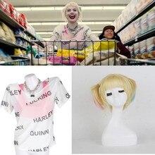 Harley Quinn Birds Of Prey Cosplay Costume T -Shirt Top Suicide Squad Joker Halloween Party Wig Costumes Props