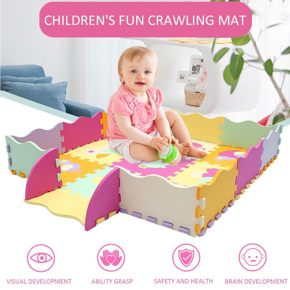 23 piezas de dibujos animados pájaro pequeño EVA Bebé y niños jugar alfombra de suelo con valla almohadilla de suelo para juegos de bebé 122*122cm BOLSA DE Opp
