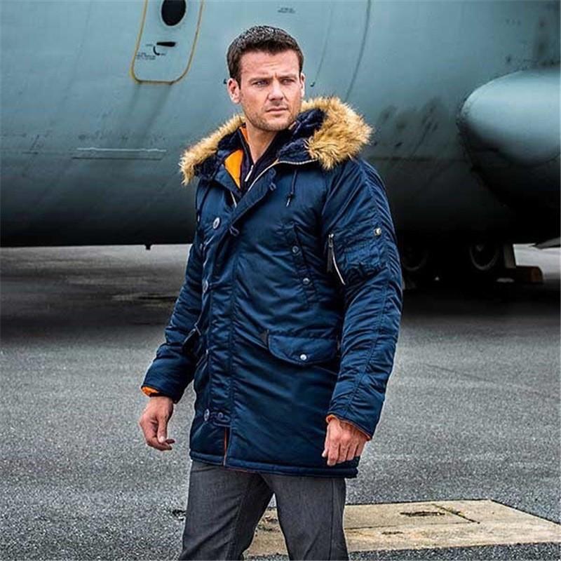 Winter 2020 Business casual jacket Men's cotton-padded jacket Russian men's winter coat faux fur large pocket long parka