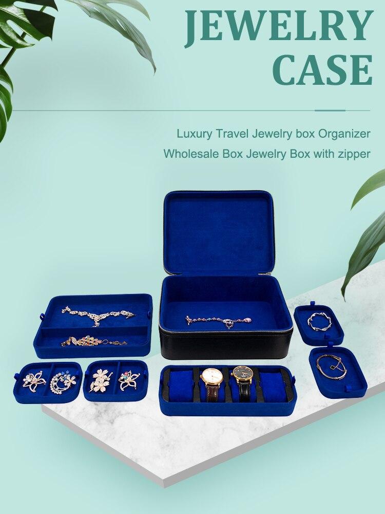 Black Suitcase Leather Jewelry Box Watch Jewellery Organizer Case Jewelry Storage Boxes