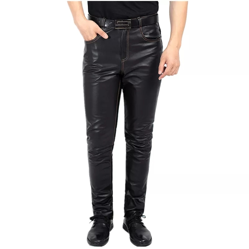 Cowskin Pants Men's Casual Slim Elongated The First Layer Cowskin Pants Quality Genuine Leather Pants Straight Leather Pants