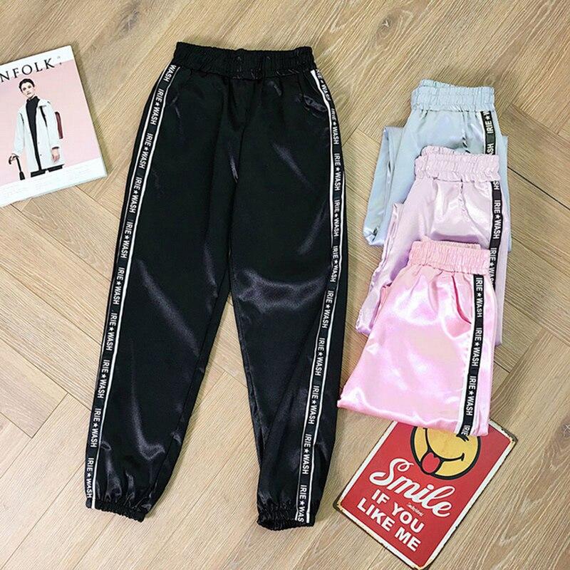 LOOZYKIT Highlight Pants Big Pocket Women Glossy Sport Ribbon Trousers BF Harajuku Joggers Women's Sports Pants