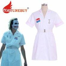 زي كوسبلاي للممرضات جوكر زي باتمان فارس الظلام جوكر كوين فستان كوسبلاي للممرضات الجوكر زي أبيض مصنوع حسب الطلب L920