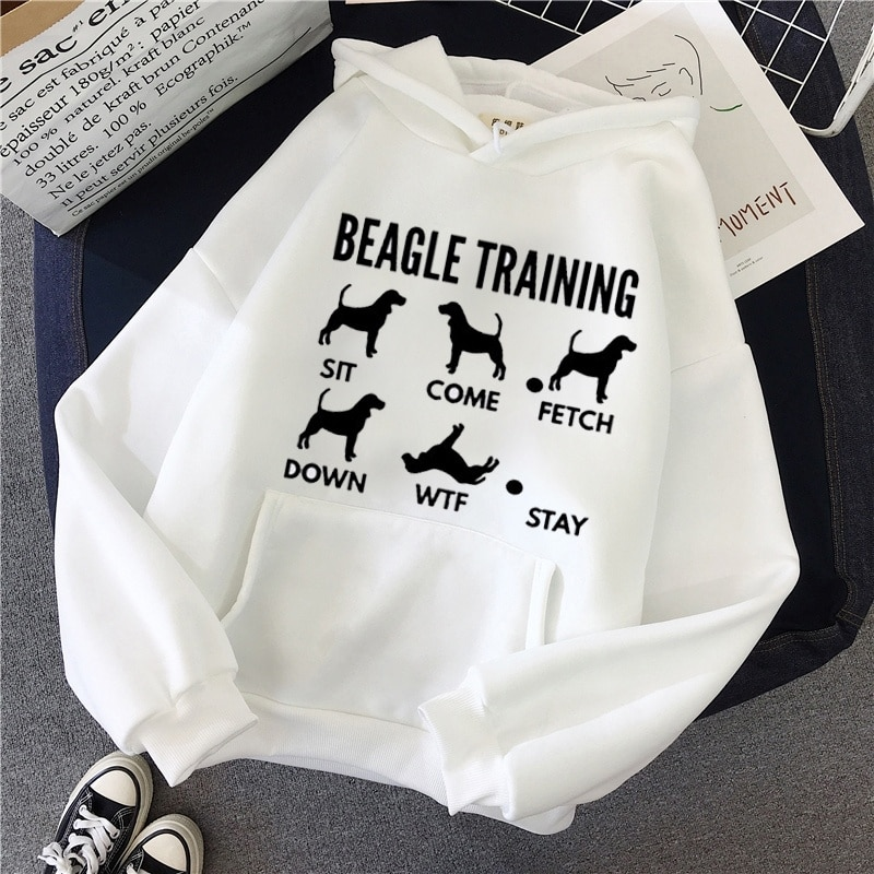 Moletom gráfico com capuz beagle, blusão de algodão de manga longa para mulher com estampa de animais casuais, rosa e branco