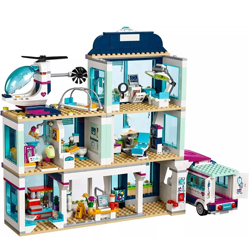 Juego de bloques de ambulancia para Hospital Heartlake City new Friends, Palacio submarino de princesa, Compatible con juguetes lepininglys para niñas