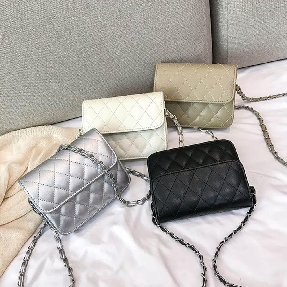 2020 New Women bag leather Handbags Fashion Plaid Chains Shoulder Bag Silver Crossbody for Bolsas Feminina