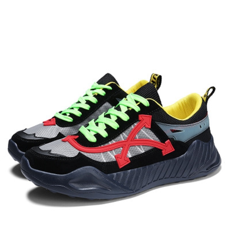 New Korean Version Of The Color Matching Cold-adhesive Shoes Men's Mesh Breathable Sports Shoes Comfortable And Wear-resistant