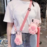 3d cute cat dog paw print zipper wallet soft phone cover for vivo iqoo neo 3 5g x30 pro x27 x23 x21 case with lanyard neck strap