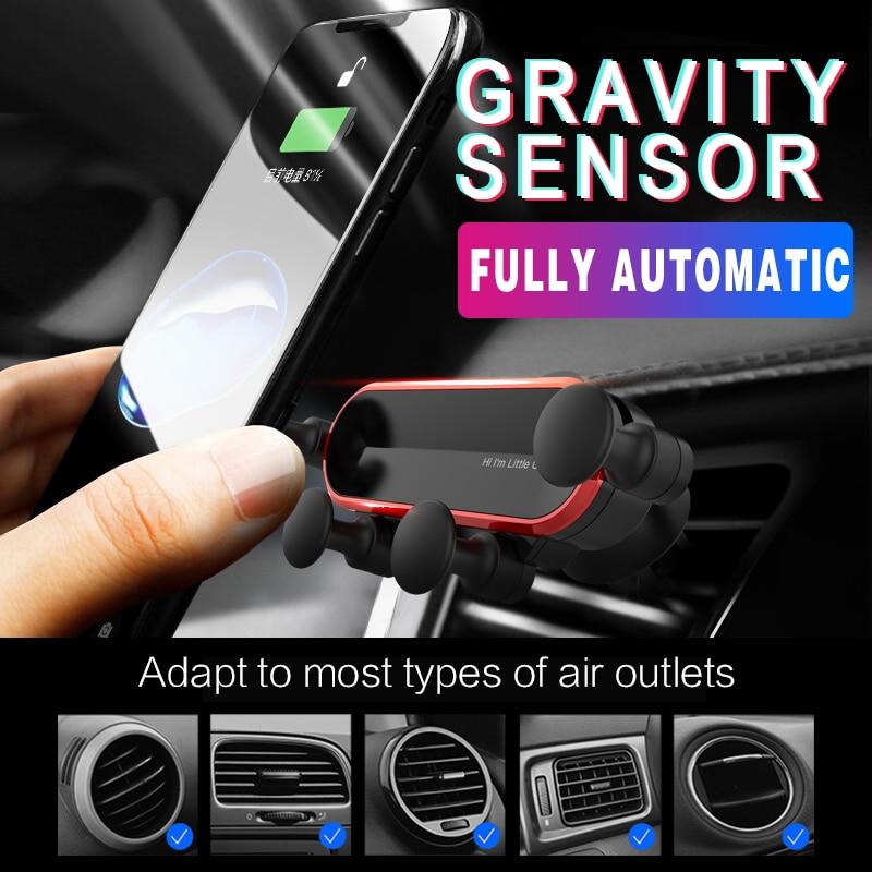 Mini soporte de teléfono de coche, soporte de Clip de sujeción GPS de ventilación de aire Universal de gravedad para Iphone Xiaomi note 10, Soporte automático para teléfono de coche