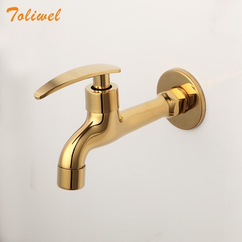 صنبور حوض مثبت على الحائط للحمام ، صنبور حوض مثبت على الحائط ، حنفية مرحاض ذهبية اللون