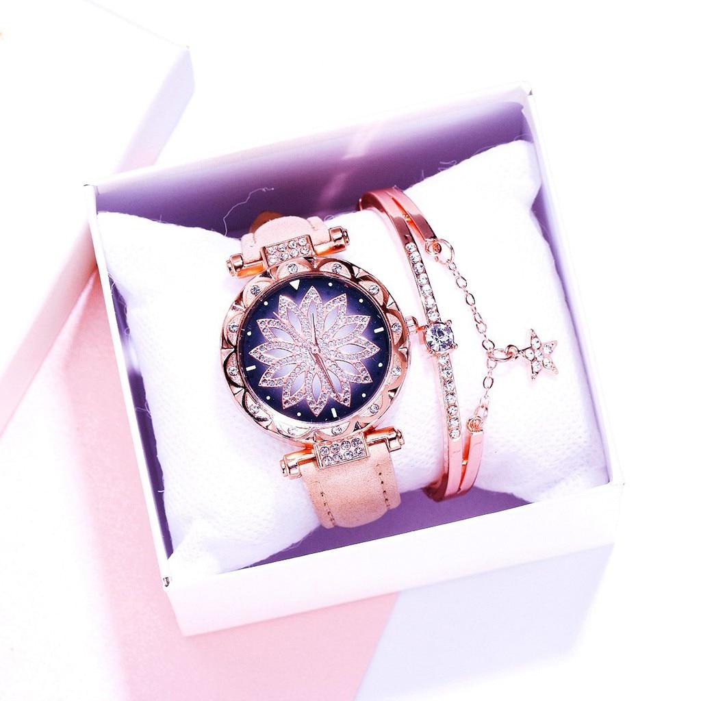 Watch bracelet set Womens Luxury Starry sky Rhinestone Colorful Fashion Star Flowers Belt Ladies Bracelet Quartz YE1