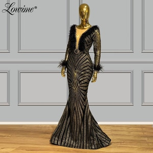 Black Glitter Evening Dress 2020 Couture Beaded Feather Long Prom Dresses Illusion Sleeves Kaftans Women Party Gown Abendkleider