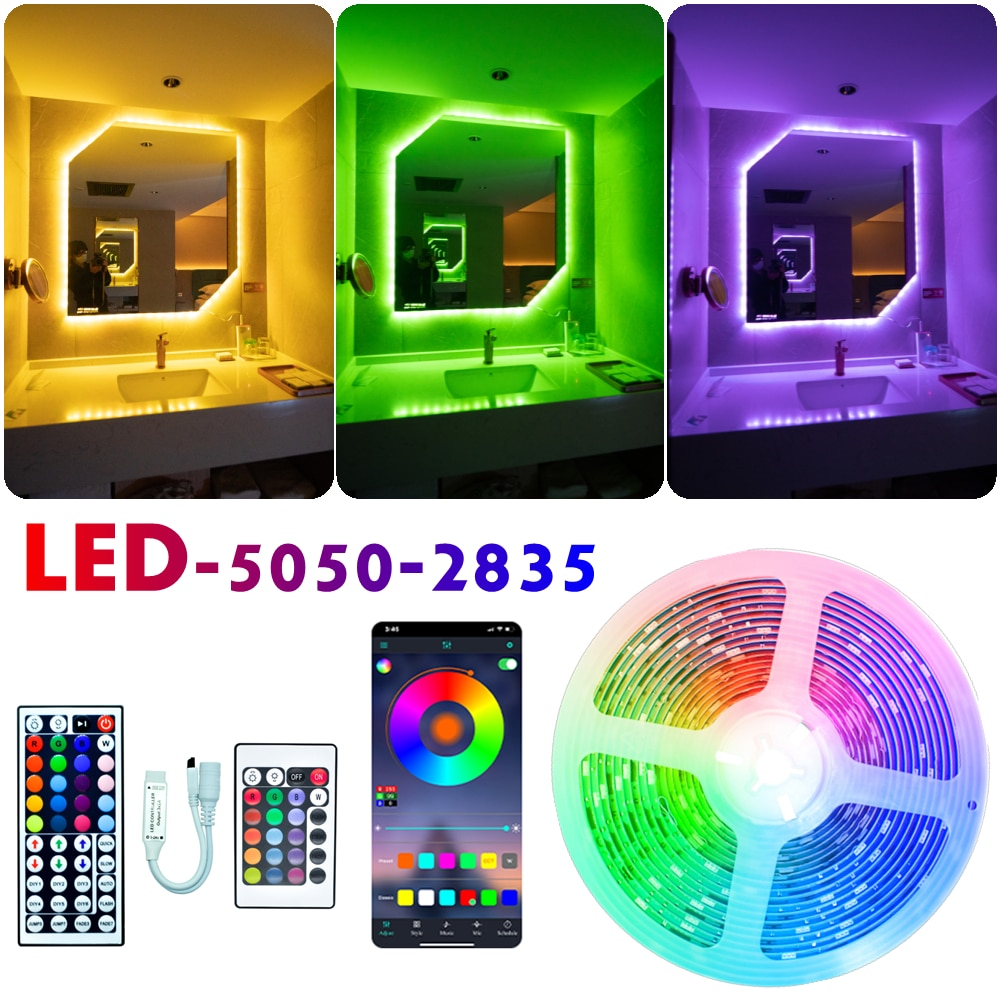 LED Strip Lights RGB 5050 2835 Bluetooth Infrared Flexible Lamp Tape Ribbon With Diode DC 12V 5M 10M