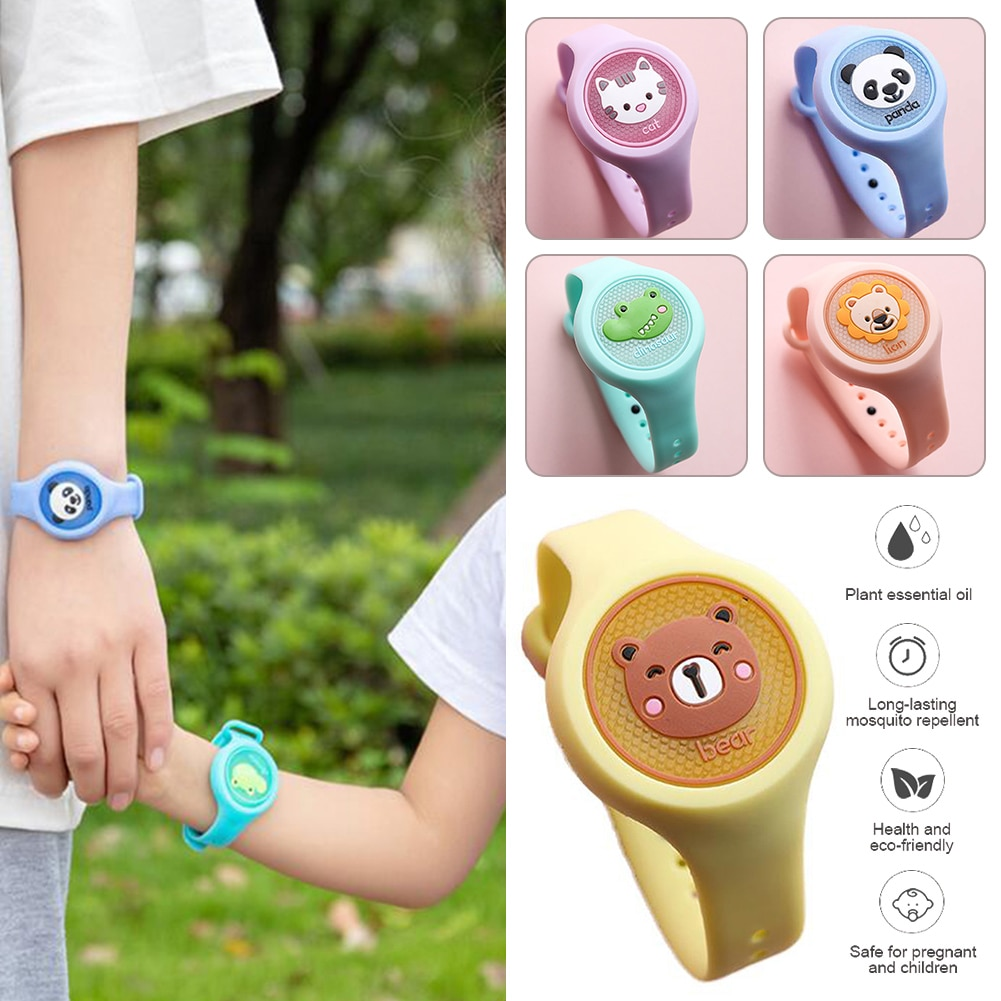 Lovely Cartoon Mosquito Repellent Bracelet for Kids Lightweight Mosquitoes Insect Repellent Watch Ou