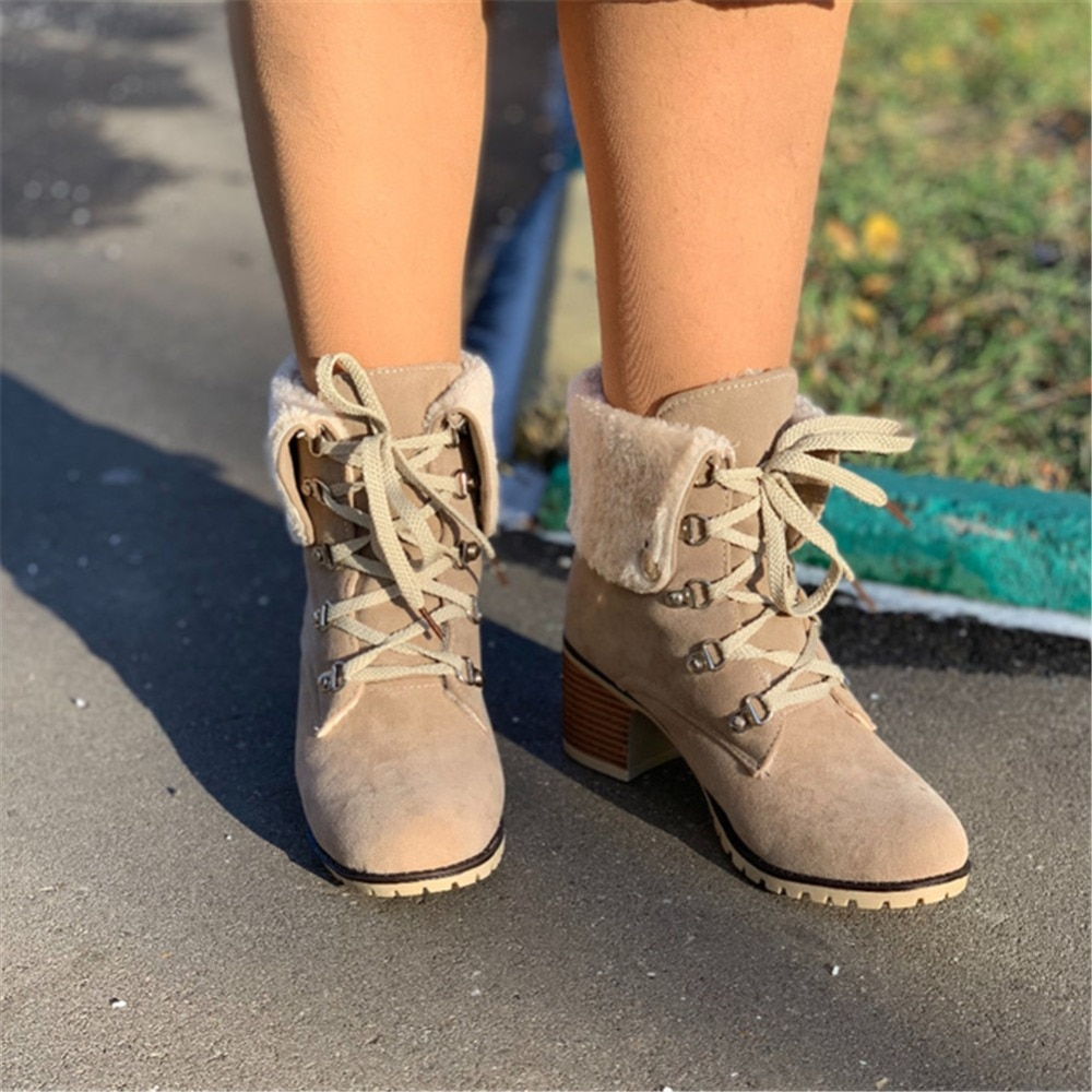 SARAIRIS gran tamaño 34-43 mujeres botines de piel de invierno zapatos de felpa y piel Mujer señoras tacones Chunky plataforma calzado botas para la nieve caliente