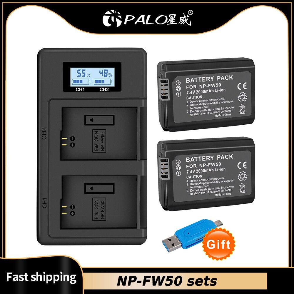Batería para cámara SONY NP-FW50 NP FW50, cargador Dual LCD USB para...