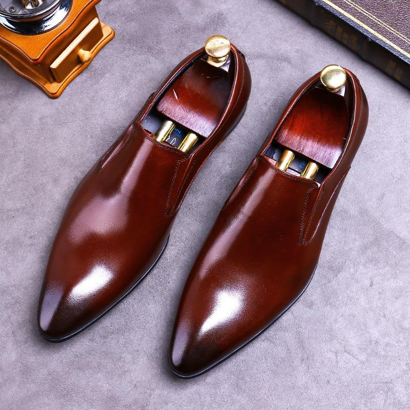 Desai-أحذية جلدية أصلية بدون أربطة للرجال ، أحذية رسمية ، أحذية عمل ، جلد البقر ، مقدمة مدببة ، نمط بريطاني