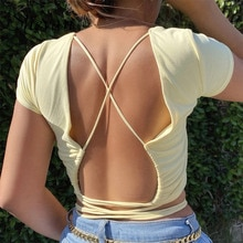 Shevan Summer Tops Wrap Sexy Turtleneck Basic Short Sleeve Backless Bandage Tied Clubwear Korean Slim Tank Tops Women