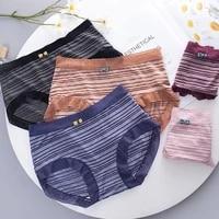 womens underwear seamless panties ladies ice silk thin cotton crotch mid waist fashion striped underwear underwear women