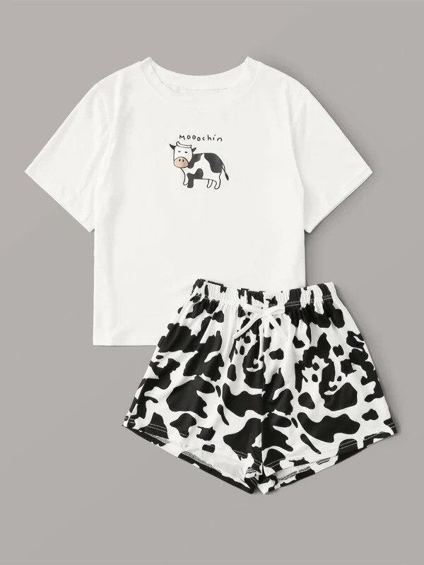2020 Summer Pajamas for Women Print Tshirts Tops + Leopard Shorts Loungewear Pajama Korean Casual Women's Two Piece Outfits