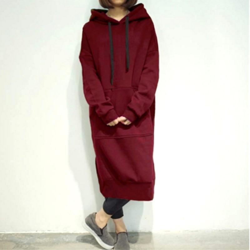 Otoño sudaderas con capucha Vestido de mujer Casual de manga larga con capucha dividir vestidos Plus tamaño 5XL 2020 invierno suelta fiesta Jersey Vestido