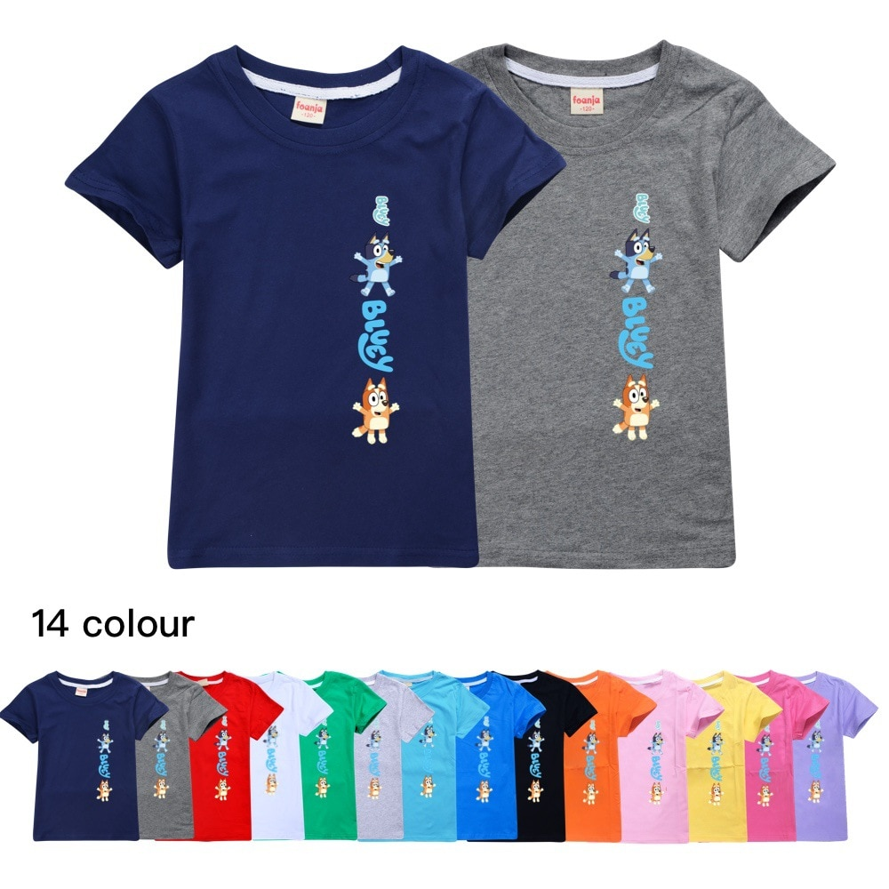 Moda niños verano Bingo Bluey algodón perros tops chicas manga corta Camiseta niños ropa niñas 8 a 12 ropa adolescente