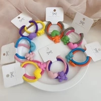 2 pcsset cute bear love hair ties sweet candy color elastic hair bands headdress girls hair rings for ponytail hair accessories