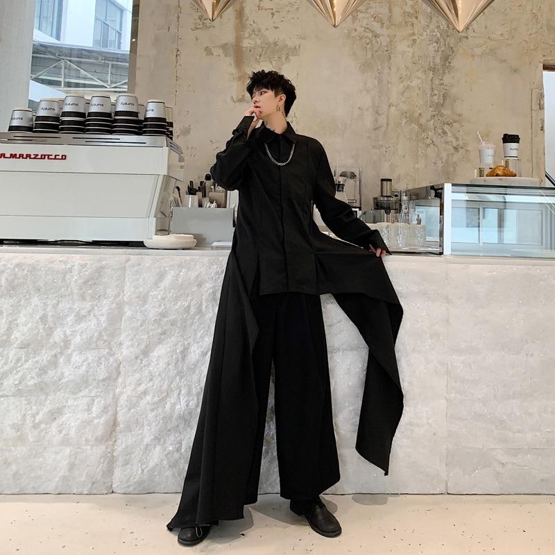 Men Japan Streetwear Gothic Dress Shirts Long Sleeve Irregular Design Casual Black White Shirt Male Stage Show Costumes