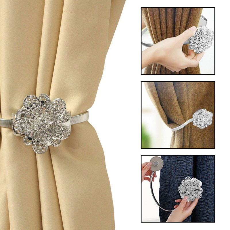 1 Pair Curtain Magnetic Buckle Curtain Strap Decoration Lace Crystal Tie Buckle Clips Tiebacks Home Decor Home Accessories