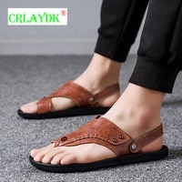 crlaydk flip flops for men summer fashion beach shoes casual leather flats waterproof sandals wide strap house bathroom slippers