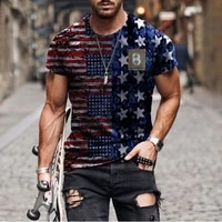 3d mens t shirt sports fitness summer short sleeved fashionable streetwear large size national flag printing