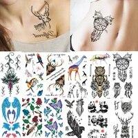 sexy tattoo ephemere woman phoenix tiger body transfer stickers decals flower arm color temporary waterproof tatoo men fake tato