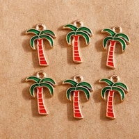 10pcs 1318mm summer enamel coconut trees charms for jewelry making earring pendant bracelet necklace charms diy findings