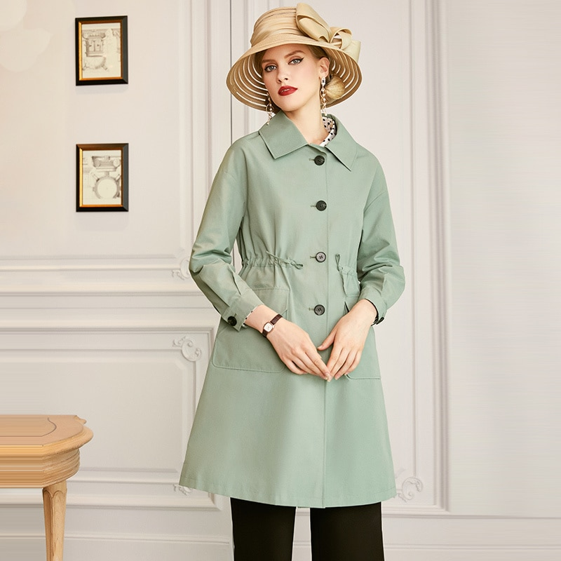 SHZQ الخصر إغلاق سترة واقية المرأة المتوسطة والطويلة نمط 2021 الخريف جديد الكورية معطف غير رسمي فضفاض الأدوات معطف الخريف