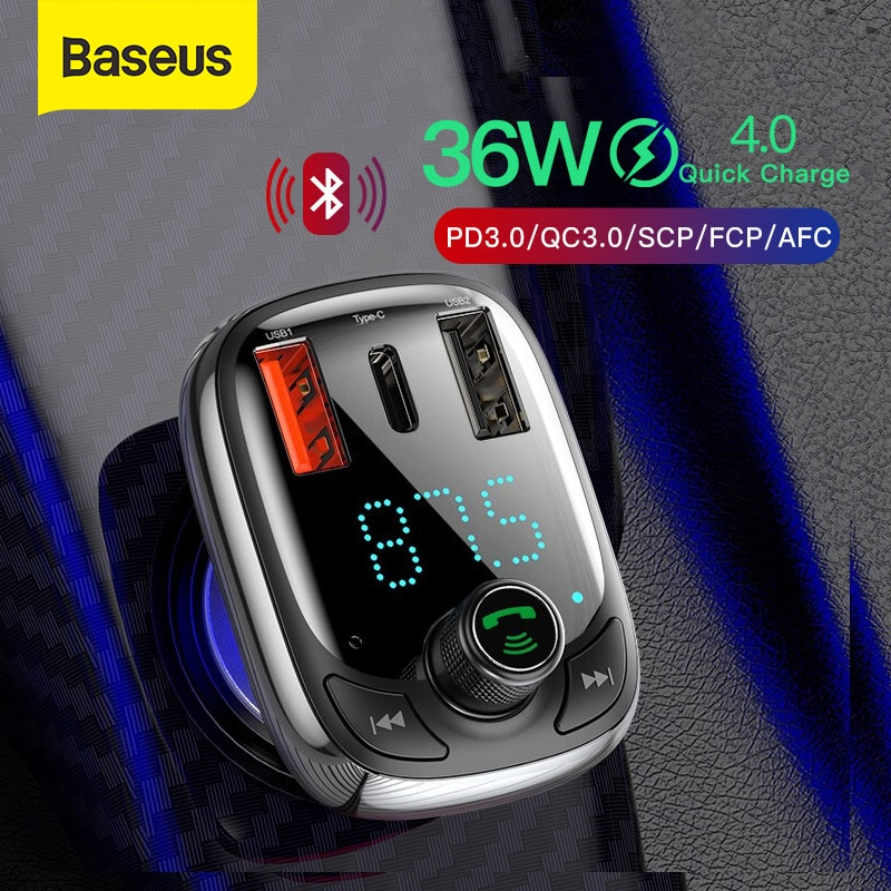 Baseus Quick Charge 4,0 автомобильное зарядное устройство с fm-передатчиком Bluetooth Handsfree FM модулятор PD 3,0 Быстрая зарядка для iPhone 11 Pro