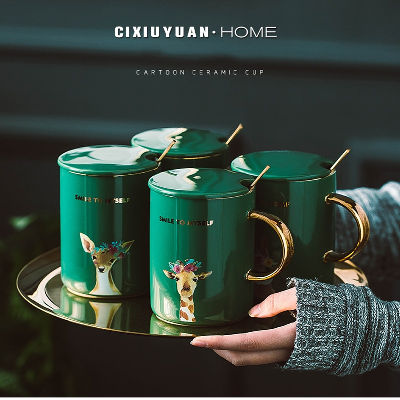 Taza de cerámica con diseño de Animal de dibujos animados verde de 400ml con tapa y cuchara, tazas creativas de gran capacidad para café, té, leche, Oficina