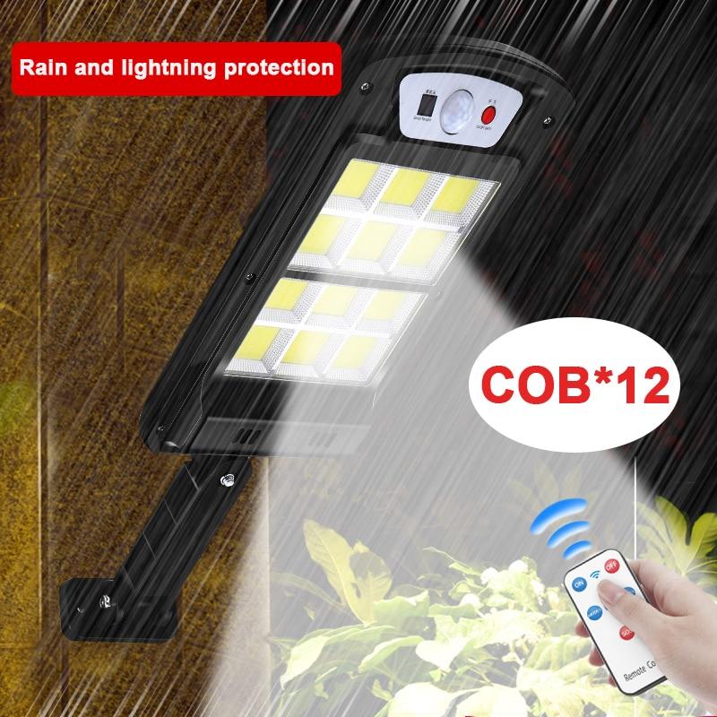 ultra Big 12 COB Solar street lamp PIR Motion Sensor Garden Wall outdoor Solar Light Waterproof Lamp Smart Remote Control Lamp