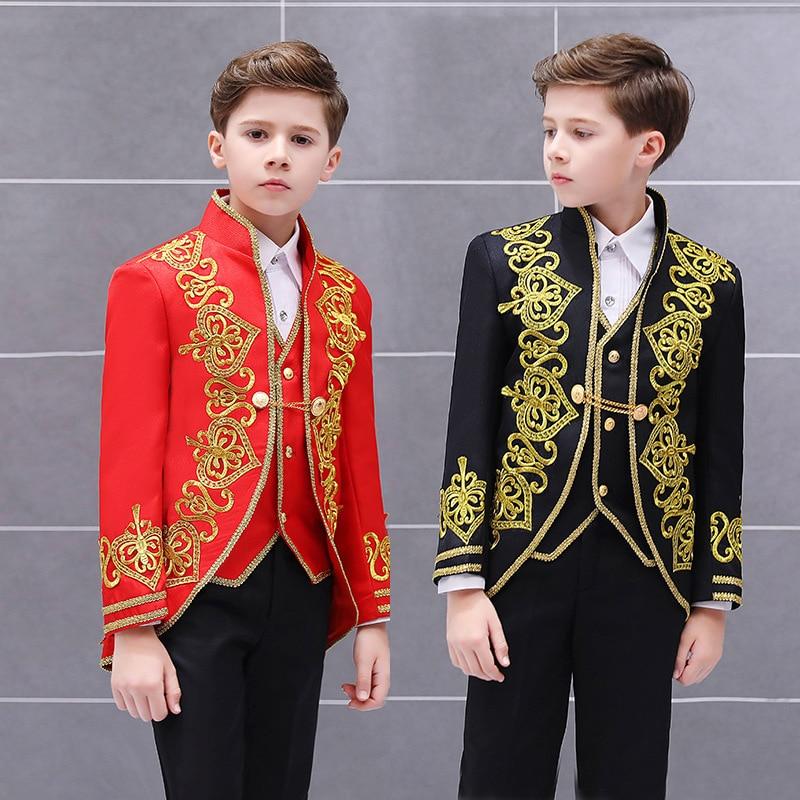 سترة وسروال بليزر للأطفال ، طقم بدلة للأولاد من 3 قطعة ، زهرة ذهبية ، الأمير ، المحكمة الأوروبية ، مسرح دراما ساحر ، زي