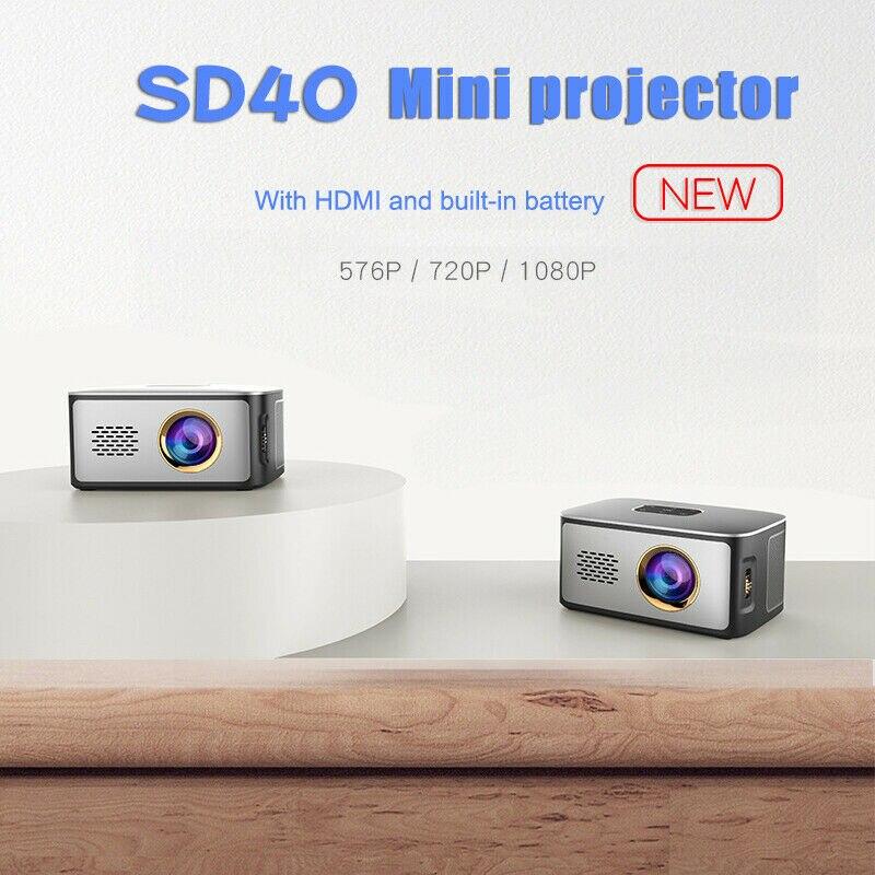 جهاز عرض LED صغير عالي الدقة 1080 بكسل ، جهاز عرض فيديو للسينما والسينما ، محمول ، دعم مكتب للهواتف الذكية