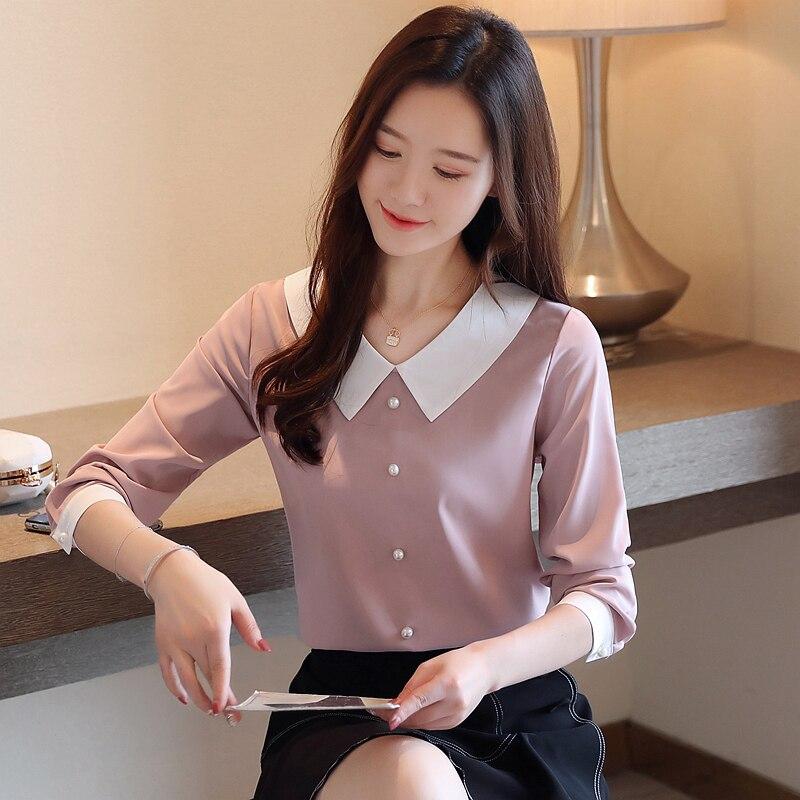 Otoño Rosa blusas de Mujeres de moda Coreana de manga larga blanco Camisas de mujer cuello Peter Pan cordón Tops y blusas para mujer