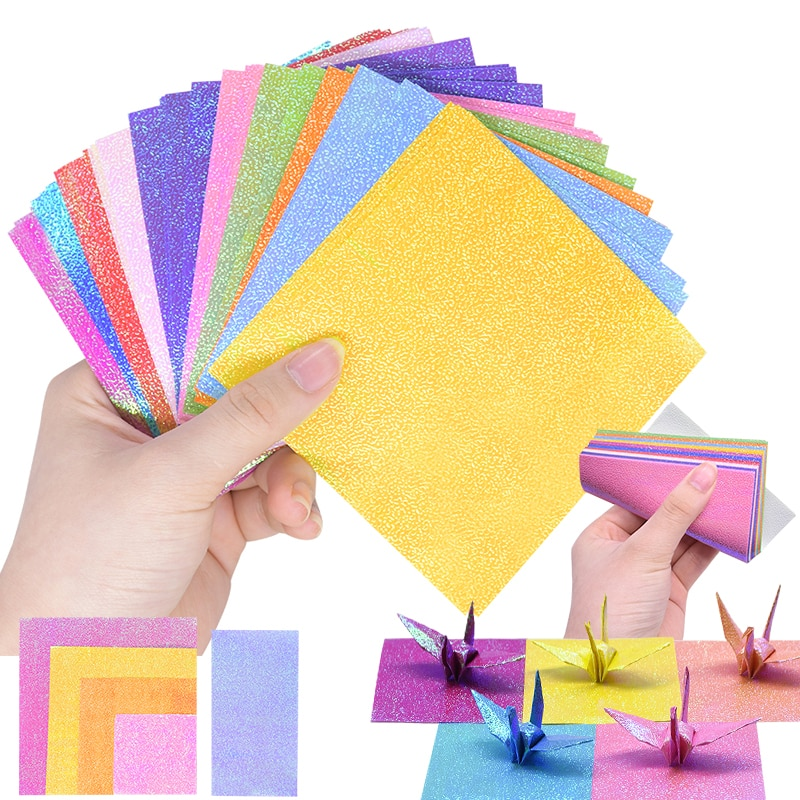 50 шт., 10 видов цветов, блестящая квадратная бумага Оригами с одной стороны, сделай сам, кран, животное, складная бумага, детская игрушка, ручная работа, скрапбукинг, подарок