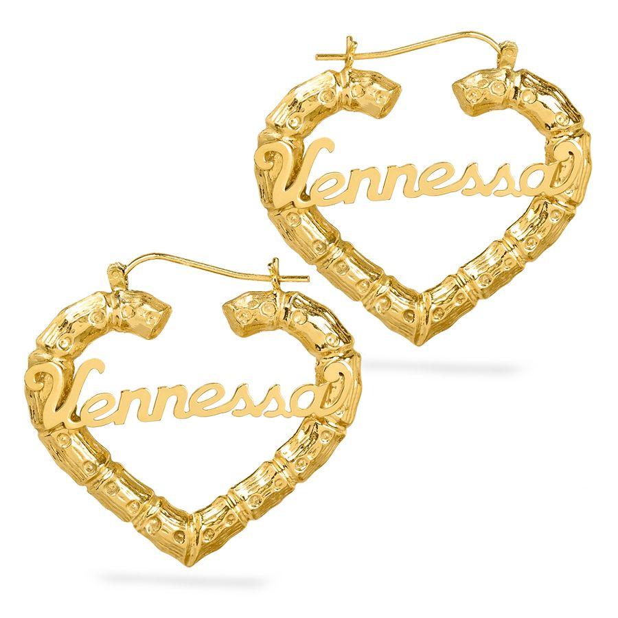Фото - Индивидуальные Бамбуковые серьги с именем, двойные позолоченные серьги из нержавеющей стали с именем в форме сердца, персонализированные ю... serebriciti jewelry позолоченные серьги с каскадами из жемчуга