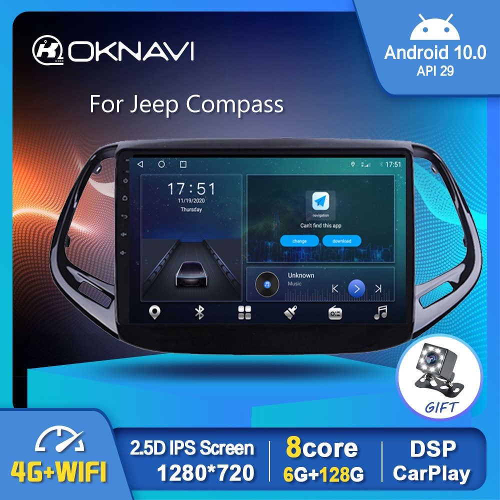 Фото - 10 Android 10.0 Smart Car Radio Video Player For Jeep Compass 2017-2019 Auto Multimedia GPS Stereo Carplay 4G Rear View No DVD 6g 128g android 10 0 smart car radio video player for nissan nv200 2011 2016 4g auto bt multimedia gps stereo dsp carplay no dvd