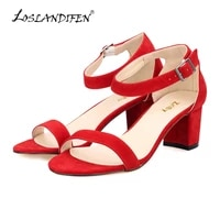 loslandifen ankle strap suede mid high heels woman open toed sandals sexy shoes ladies cause party pumps high heel sandals