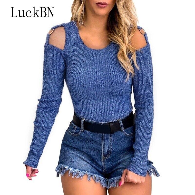 LuckBN moda mujer Casual suéteres de manga larga elegante Slim Fit Tops suéteres Femme elegante fuera del hombro suéter Streetwear