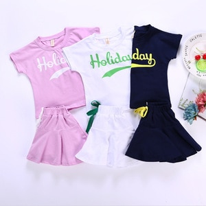 2 3 4 5 6 7 8 Years Toddler Girls Clothing Sets Casual Letter Printed Short-sleeved T-shirt Skirt 2pcs Kids Clothes 2020 Summer