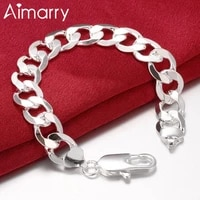 aimarry 925 sterling silver 12mm sideways chain bracelet for women men charm party wedding gifts fashion jewelry