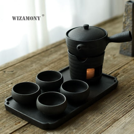 WIZAMONY  7PCS Travel Bag Chinese Kung Fu Tea set gaiwan teapot teacups fair mug tea sets Ash Gray for gift puer Drinkware